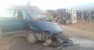 حادثة سير خطيرة بعد اصطدام عنيف بين سيارة خيفة وشاحنة بقبيلة بني ريص